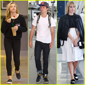 Ansel Elgort, Chloe Moretz, & Jena Malone Jet Out of Toronto After TIFF 2014