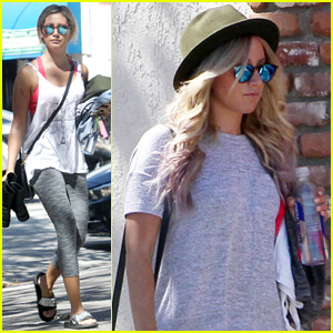 Ashley Tisdale Hits Pilates After Dyeing Her Hair