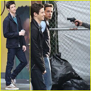 Grant Gustin Gets Held at Gunpoint on 'The Flash' Set!