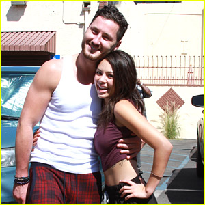 Janel Parrish Gets Her Hair Braided By DWTS Partner Val Chmerkovskiy