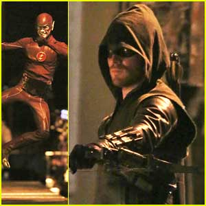 Grant Gustin Kicks Up His Heels For 'Flash/Arrow' Crossover Filming