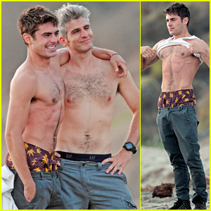 Zac Efron & Director Max Joseph Hang Out Shirtless on the Beach for 'We Are Your Friends'