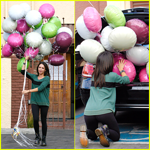 Val Chmerkovskiy Got Janel Parrish 26 Balloons For Her Birthday & It Looked Lik