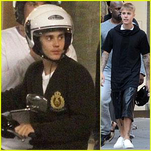 Justin Bieber Enjoys Florence Sights On Vespa