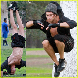 Jessie's Pierson Fode Shows Off Abs During Intense Workout at the Park