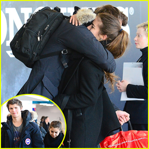 Ansel Elgort & Violetta Komyshan Share Cute Goodbye Hug at JFK