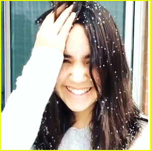Bailee Madison Keeps Getting Distracted by the Snow in Toronto