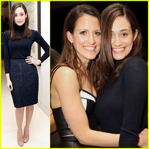 Emmy Rossum Supports Pal at Carbon38's Second Anniversary Bash