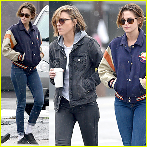 Kristen Stewart & Alicia Cargile Brave the Rain For Coffee