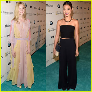 Jamie Chung Party Jumps For Pre-Oscar Celebrations with Elle Fanning