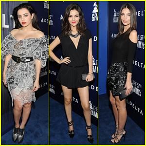 Victoria Justice & Emily Ratajkowski Watch Charli XCX Perform at Delta's Pre-Grammy Party 2015!
