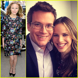 Halston Sage Promotes 'Paper Towns' With Author John Green