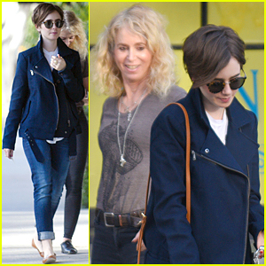 Lily Collins & Mom Jill Meet Up Following Her Romantic Date With Chris Evans