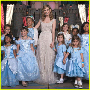 Lily James Makes Dreams Come True At Disneyland For 'Cinderella' Screening