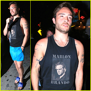 Ed Westwick Looks Beach Ready at Chateau Marmont