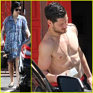 Val Chmerkovskiy Goes Shirtless After DWTS Practice with Rumer Willis