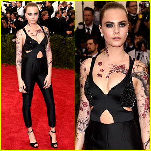 Cara Delevingne Goes Floral with Fake Tattoos at Met Gala 2015!