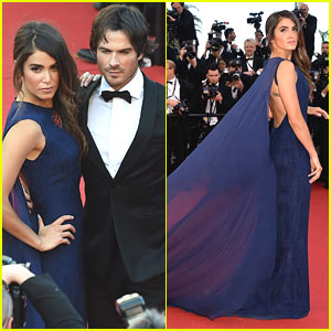 Ian Somerhalder Helps Nikki Reed With Her Dress On Cannes Red Carpet