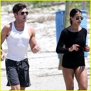 Zac Efron Runs Along the Beach with Sami Miro!
