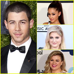 Nick Jonas Plays 'Lips, Wife, Leave' with Ariana, Meghan, & Kelly!