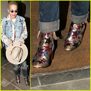 Rita Ora Rocks Star-Studded Boots While Visiting Daisy Lowe