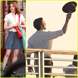 Emma Stone & Ryan Gosling Welcome John Legend On 'La La Land' Set
