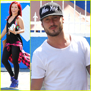 Sharna Burgess & Val Chmerkovskiy Arrive Ready To Go For 'DWTS' Season 21