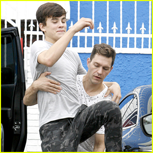Hayes Grier & Andy Grammer Do Their Own Lift Outside DWTS Studios After Practice
