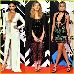 Shay Mitchell & Ashley Benson Wow At MTV EMAs with Hailey Baldwin