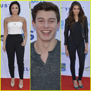 Demi Lovato & Shawn Mendes Step Out for WE Day 2015 With Nina Dobrev!