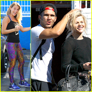 Carlos PenaVega Catches Up With Witney Carson Before DWTS Practice with Lindsay Arnold
