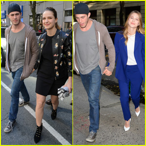 Melissa Benoist & Blake Jenner Hold Hands During 'Supergirl' Promo in NYC!