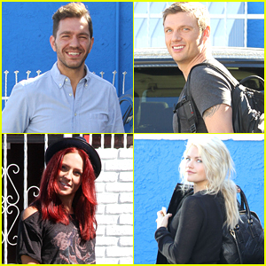 Nick Carter & Andy Grammer Meet With Fans Before DWTS Practice with Witney Carson & Sharna Burgess