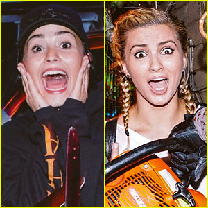 Demi Lovato & Tori Kelly Look Scared at Halloween Horror Nights!