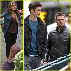 Grant Gustin & Stephen Amell Film Scenes With Ciara Renee For New 'Flash/Arrow' Crossover