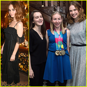 Lily James Has Tea With Sophie McShera Before Claridge's Christmas Tree Party