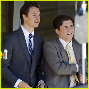 Ansel Elgort Suits Up for 'Billionaire Boys Club' Filming With Taron Egerton