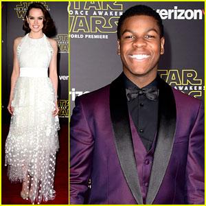 Daisy Ridley & John Boyega Premiere 'Star Wars' with Billie Lourd!
