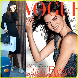 Kendall Jenner Shows Off 'Vogue Brasil' Cover After Shopping With Hailey Baldwin