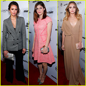 Nina Dobrev & Alexandra Daddario Honor Stylists at Marie Claire Image Maker Awards