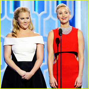 Jennifer Lawrence Hilarious Presents at Golden Globes 2016 with Amy Schumer (Video)
