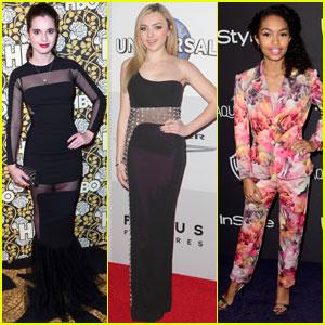 Vanessa Marano & Peyton List Go Glam for Golden Globes Parties 2016