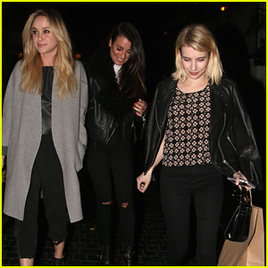 Emma Roberts Dines Out With Lea Michele & Becca Tobin
