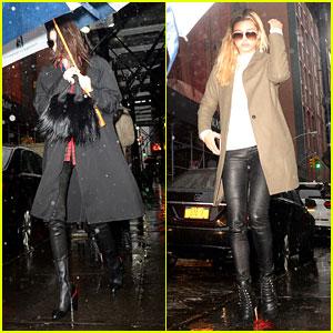 Kendall Jenner Shares an Umbrella With Hailey Baldwin