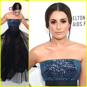 Lea Michele Shows Off Her Glam Look at EJAF's Annual Oscar Viewing Party