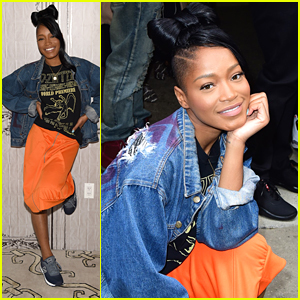 Keke Palmer Wears Bow In Hair For AOL Build Appearance