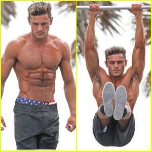 Zac Efron Puts His Chiseled Abs on Display for 'Baywatch' Obstacle Course