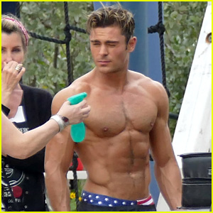 Zac Efron's Shirtless Body Gets All Misted Down for 'Baywatch'!