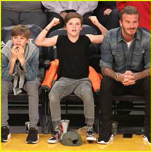 Romeo & Cruz Beckham Sit Court Side at the Lakers!
