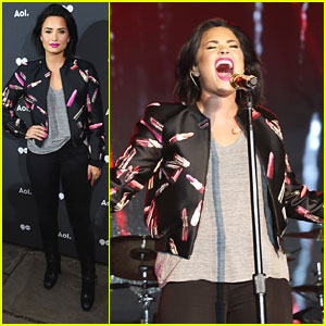 Demi Lovato Kicks Off AOL NewFronts Party in NYC with Amanda Steele